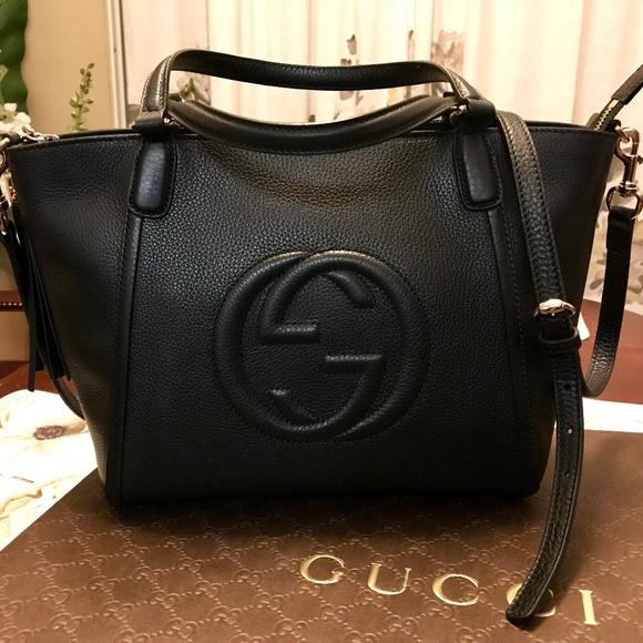 e147a68675c Gucci Handbags - GUCCI SOHO - BLACK TOP HANDLE